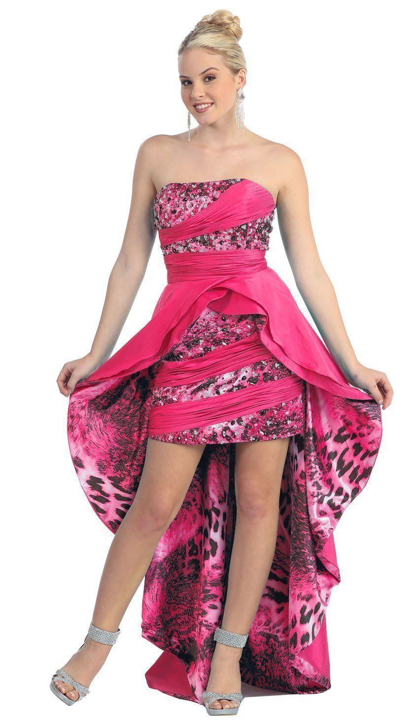 Long High Low Animal Tiger Print Cocktail Formal Prom Dress | prom ...