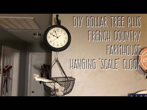 """Photo of DIY Dollar Tree Plus French Country Farmhouse Hanging """"Scale"""" Clock"""