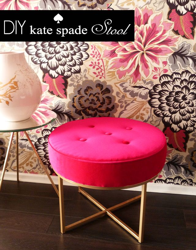Preciously me blog : DIY Kate Spade stool --re-purposed from a small table found in an op-shop. Job well done.