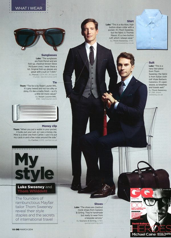 b592301681beb Thom Whiddett and Luke Sweeney in GQ. | Gentleman's Style ...