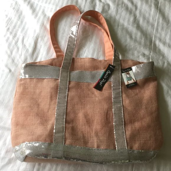 "Host Pick 7/4/16Jute Tote with Sequin Detail A ""Peach"" of a deal! Peachy/Salmon tone Tote is Jute Fabric & embellished with Silver Sequins on front of bag. Measures 15"" length; 14"" height; 7"" depth. 11"" double Strap drop. Roomy Interior has side zippered pocket with slip pocket for phone, sunglasses etc. Bag zippers close for security. NWT.HP Vacation Vibes Party 7/4/16 Charlie Paige Bags Totes"