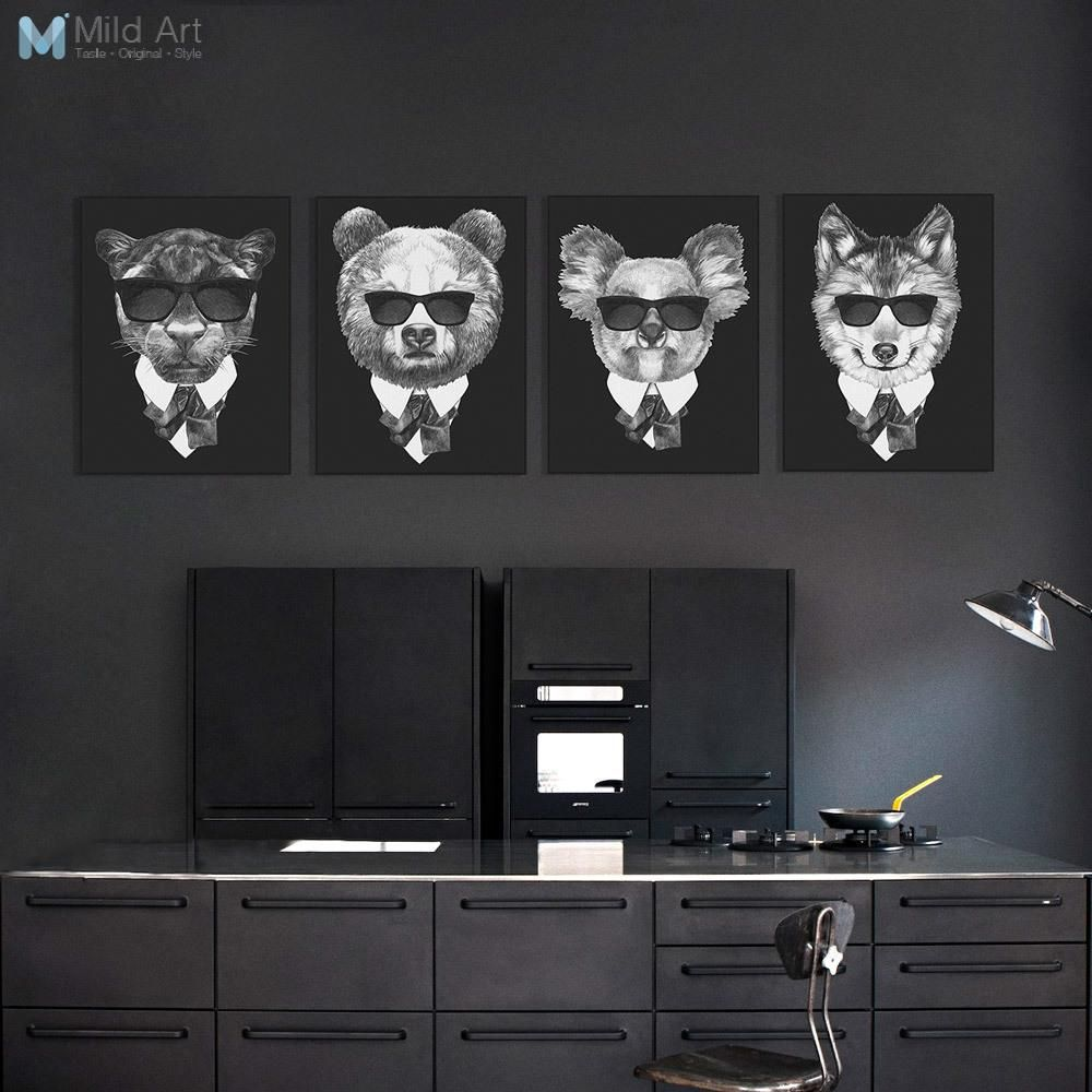 Modern Fashion Classic Black White Italy Mafia Animal Head Lion ...