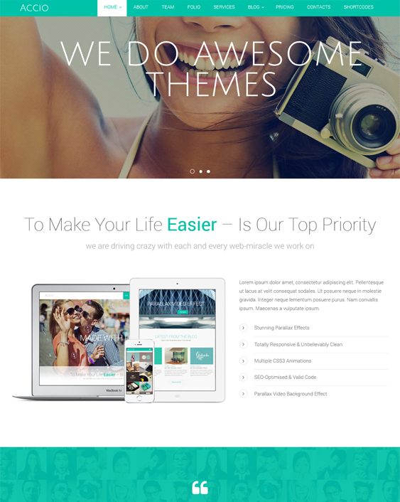 This one page Joomla template features 2 responsive