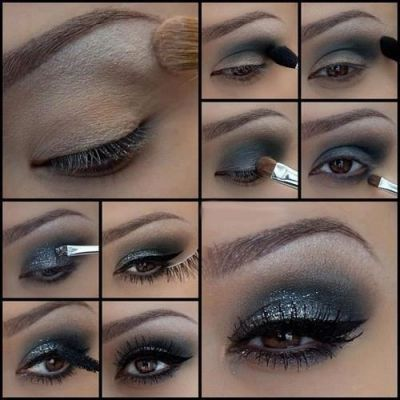 Step-by-step pictures on how to create a dazzling smoke/sapphire eye with dramatic eyebrow arch.