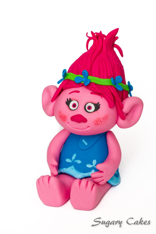 Personalised sugarpaste princess poppy trolls cake toppers