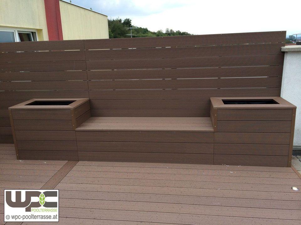 Bambus BPC WPC Terrasse mit Sitzbank Blumentrog