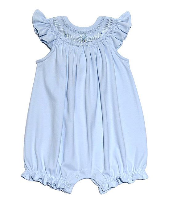 Blue Miah Hand-Smocked Pima Romper - Infant
