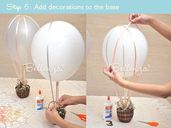 How To Make A Hot Air Balloon Decoration Diy Hot Air Balloons Hot Air Balloon Baby Shower Hot Air Balloon Centerpieces