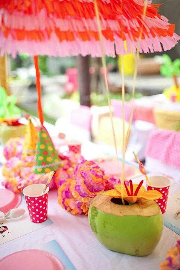 Aloha Luau Surf Colorful Hawaiian Beach Girl 1st Birthday Party Planning Ideas Kids Themed Birthday Parties Hawaiian Kids Party Hawaiian Luau Party
