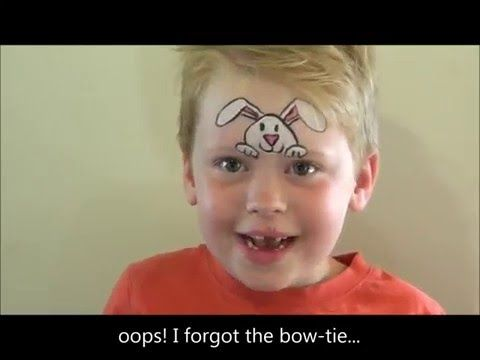 How to face paint a simple fast and easy Easter Bunny for boys or