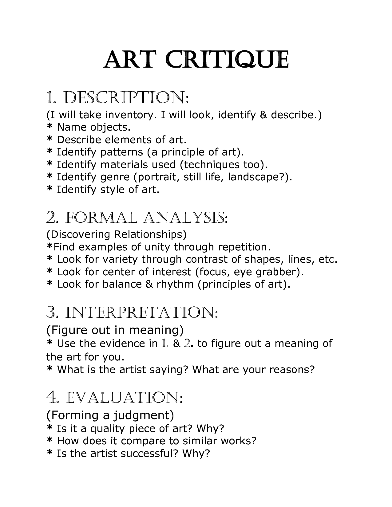 Art Critique Worksheet