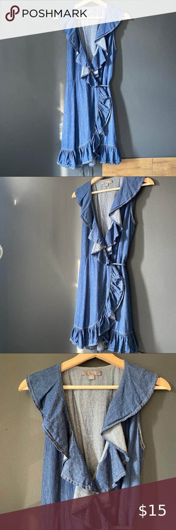 3 20 Rue21 Wrap Denim Dress Ruffled Dress Women Dress Size Chart Women Denim Overall Dress [ 1740 x 580 Pixel ]