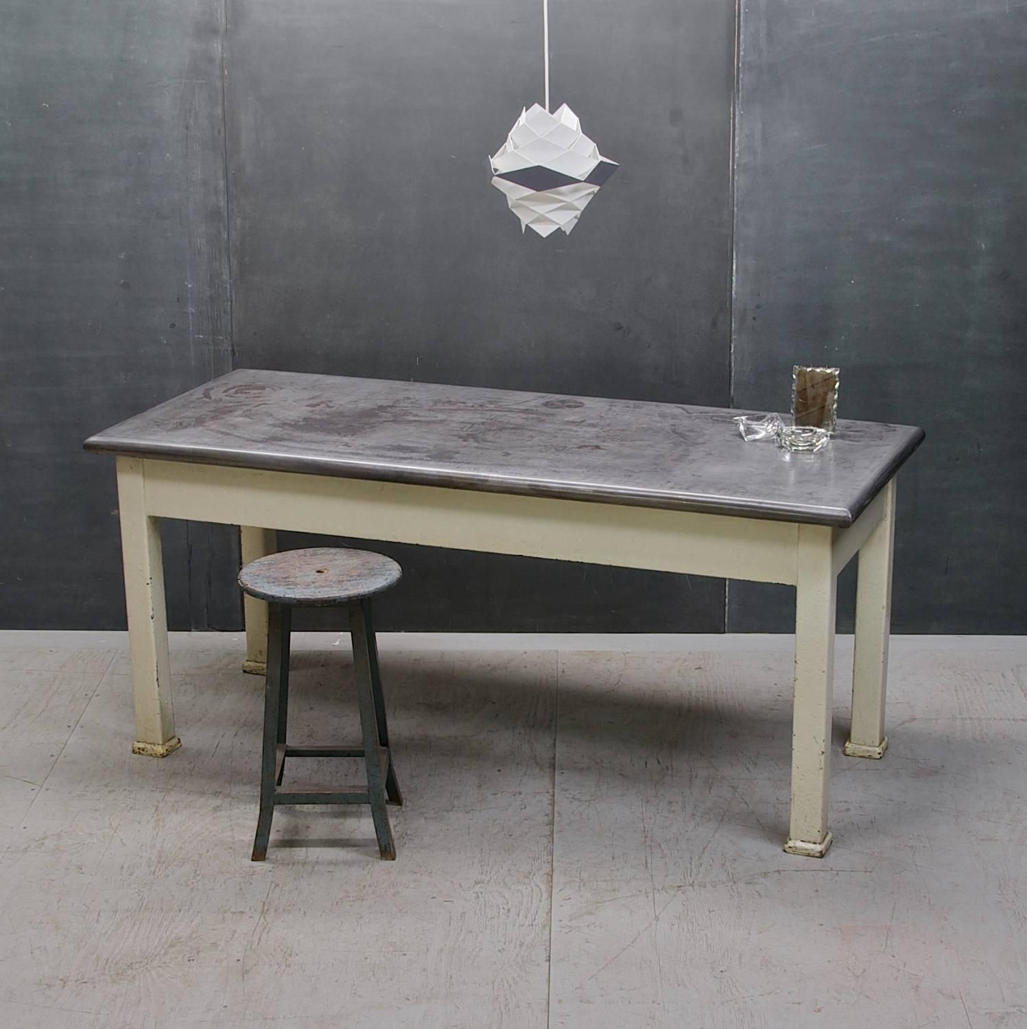Early century steel clad industrial factory kitchen rectory table early century steel clad industrial factory kitchen rectory table workwithnaturefo
