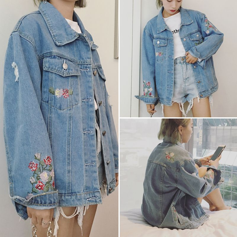 678f0d71230 Click to Buy    2017 New Arrive Preppy Style Autumn Women Embroidery Short  Jean Jacket Female Vintage Long Sleeve Single Breasted Fashion Coats   Affiliate