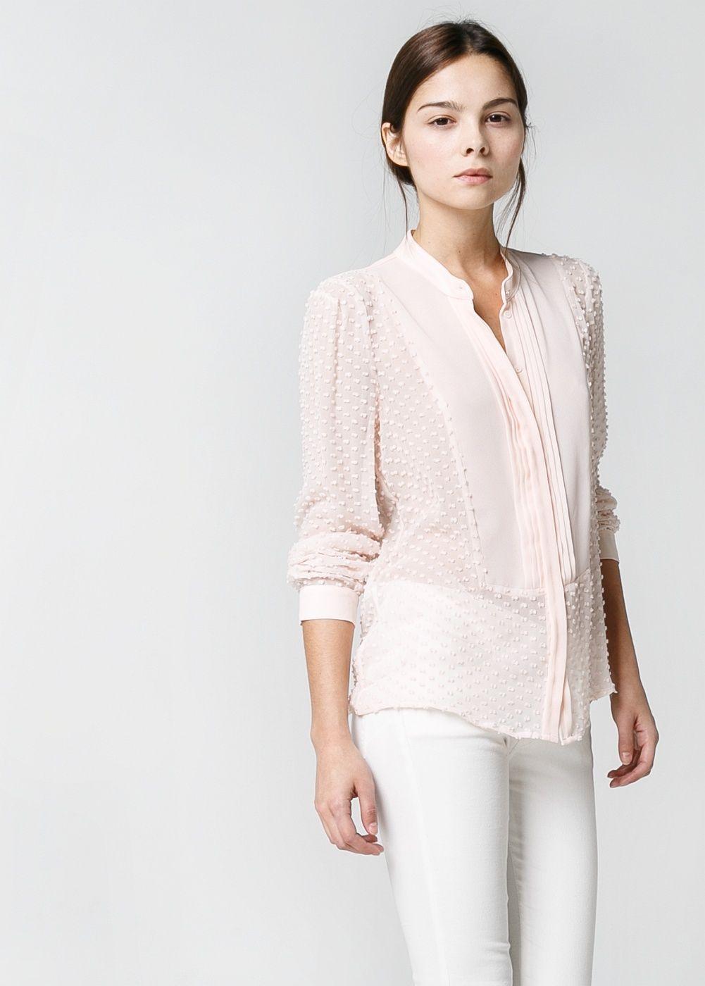 acfb4b2cad36ed Silk-blend plumeti blouse in nude...pretty