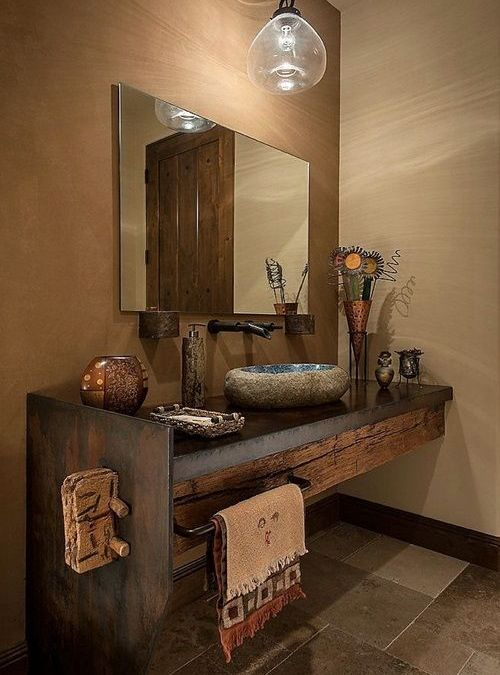 Arredo bagno mobile in legno massello anticato vintage | Bath, Half ...