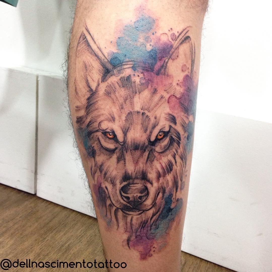 Wolf  #dellnascimentotattoo #rioinktattoo #rioink #electricink #watercolortattoo #tattoo #tatoist #tattooed #tattooartist #tattoos #tattoorj #tattoo2me #sublimestattoos #melhorestatuagensrio #aquarela #lobo #wolf #scketh #colortattoo #photooftheday #azedareameta