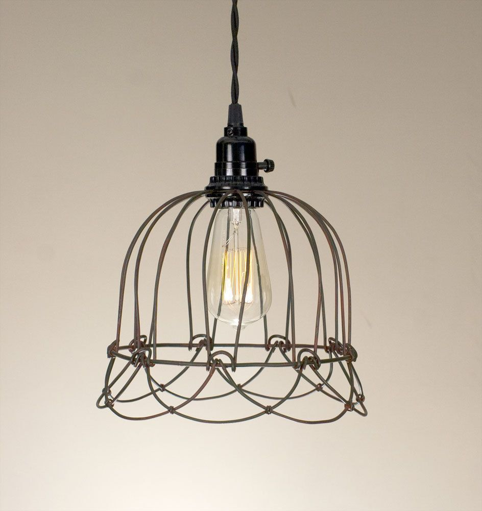 Details About Wire Bell Pendant Hanging Light Green Rust