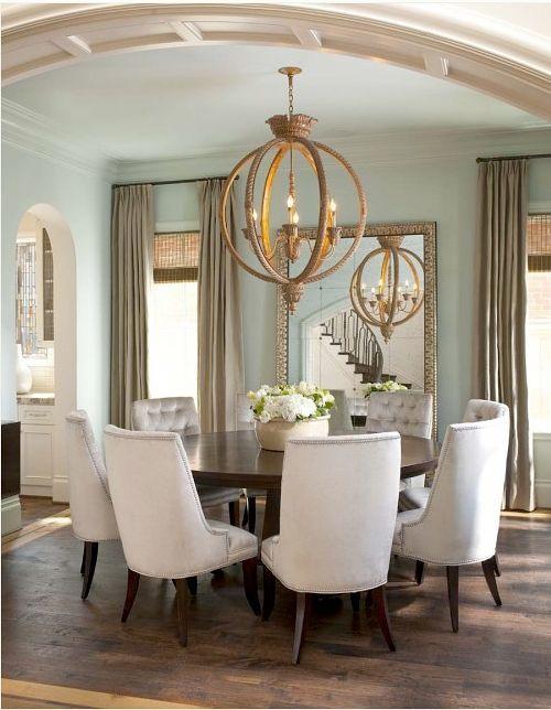 Neutral Light Dining Room Linen Chair Globe Iron Sphere Light