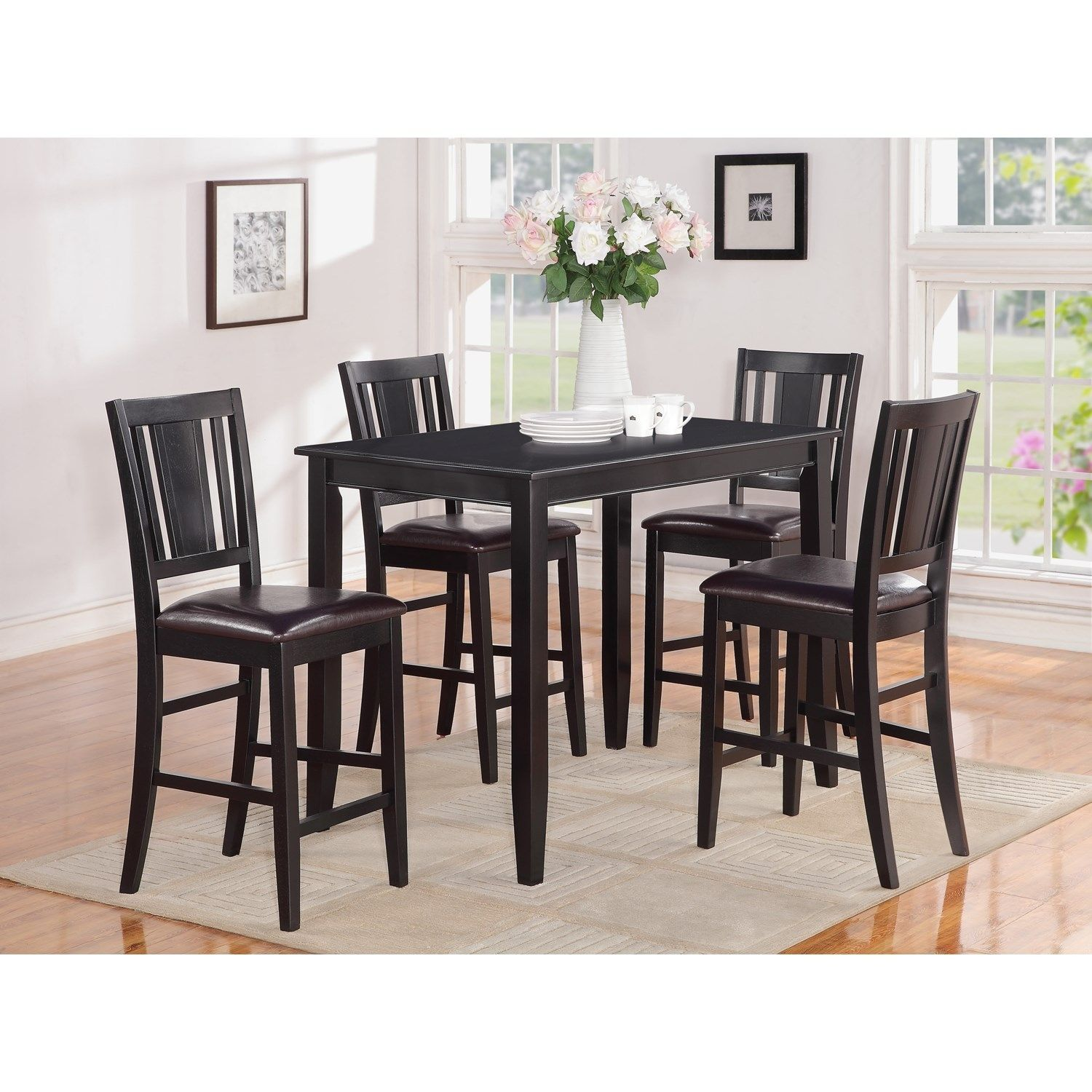 Black Bar Counter Height Table Set With Stool  Httplachpage Magnificent Pub Height Dining Room Sets Inspiration Design