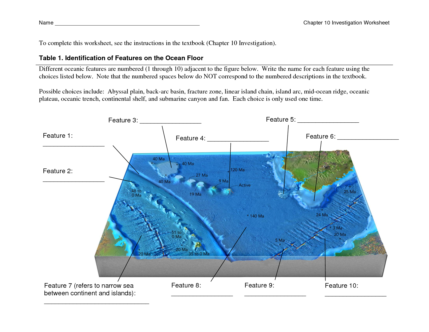Ocean floor features worksheet the for On the floor