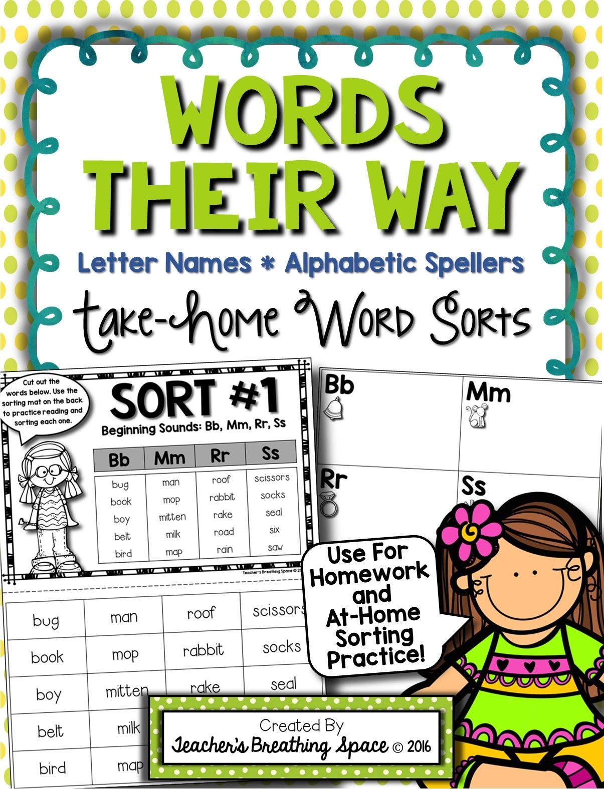Words Their Way Letter Name Alphabetic Homework Sorts Amp Lists