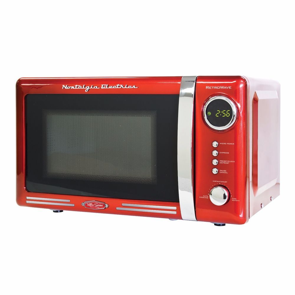 Compact Microwave College Dorm Room Accessories Retro Design Series Red Nostalgiaelectrics Microwave Oven Countertop Microwave Nostalgia Electrics Retro