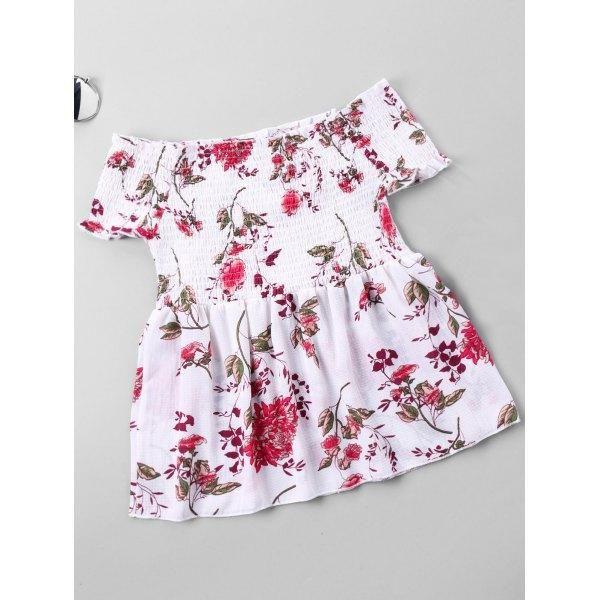 #Valentines #AdoreWe #RoseWholesale - #Rosewholesale Floral Shirred Bust Off Shoulder Blouse - AdoreWe.com