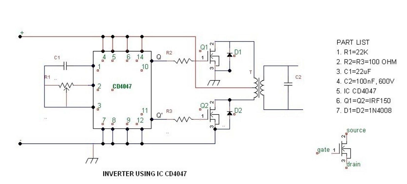 The purpose to build a simple 100 watt to 500 watt inverter circuit ...