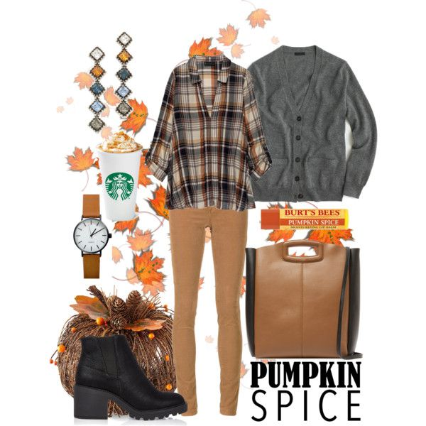 it's time for pumpkin spice by kc-spangler on Polyvore featuring J.Crew, Bobeau, AG Adriano Goldschmied, River Island, Maje and DANNIJO