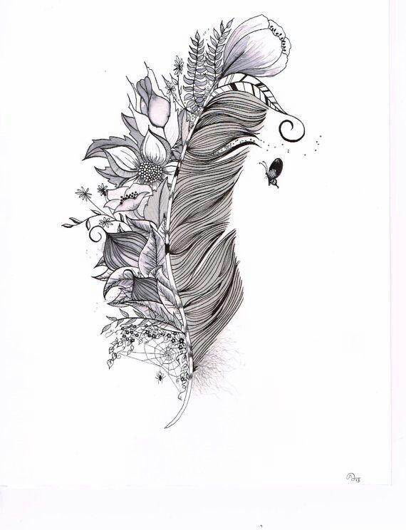 c0c6254c7 halffeather #feather #floral #black #cute #feminine #tattoodesign ...