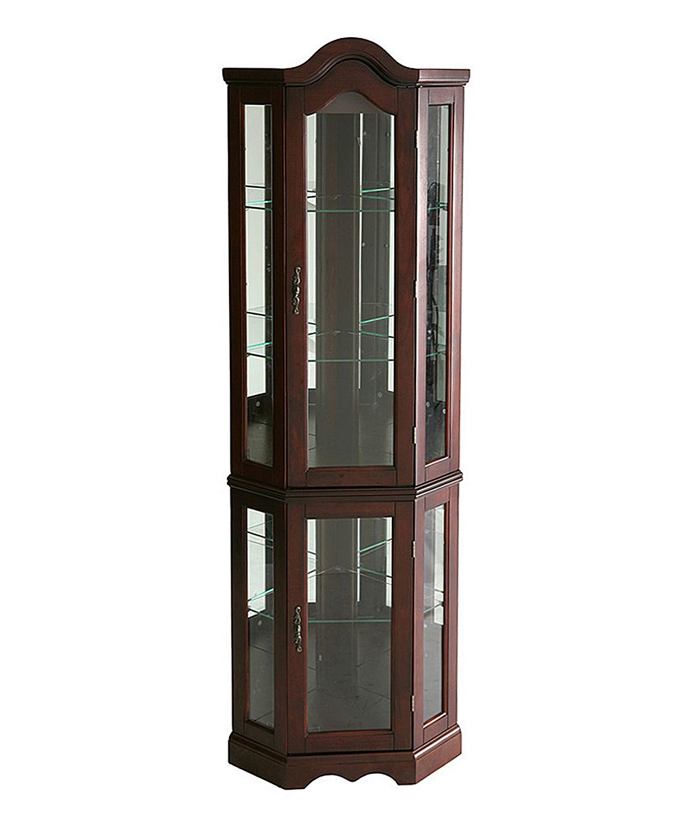 Mahogany Lighted Corner Curio Cabinet | Products
