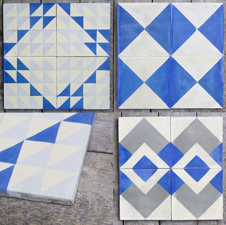 Blue And White Floor Tile Idea By Reclaimed 5 Trendir