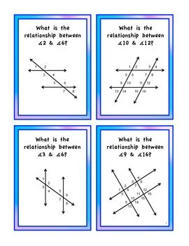 Parallel Lines Transversals Angles Geometry Flashcards With