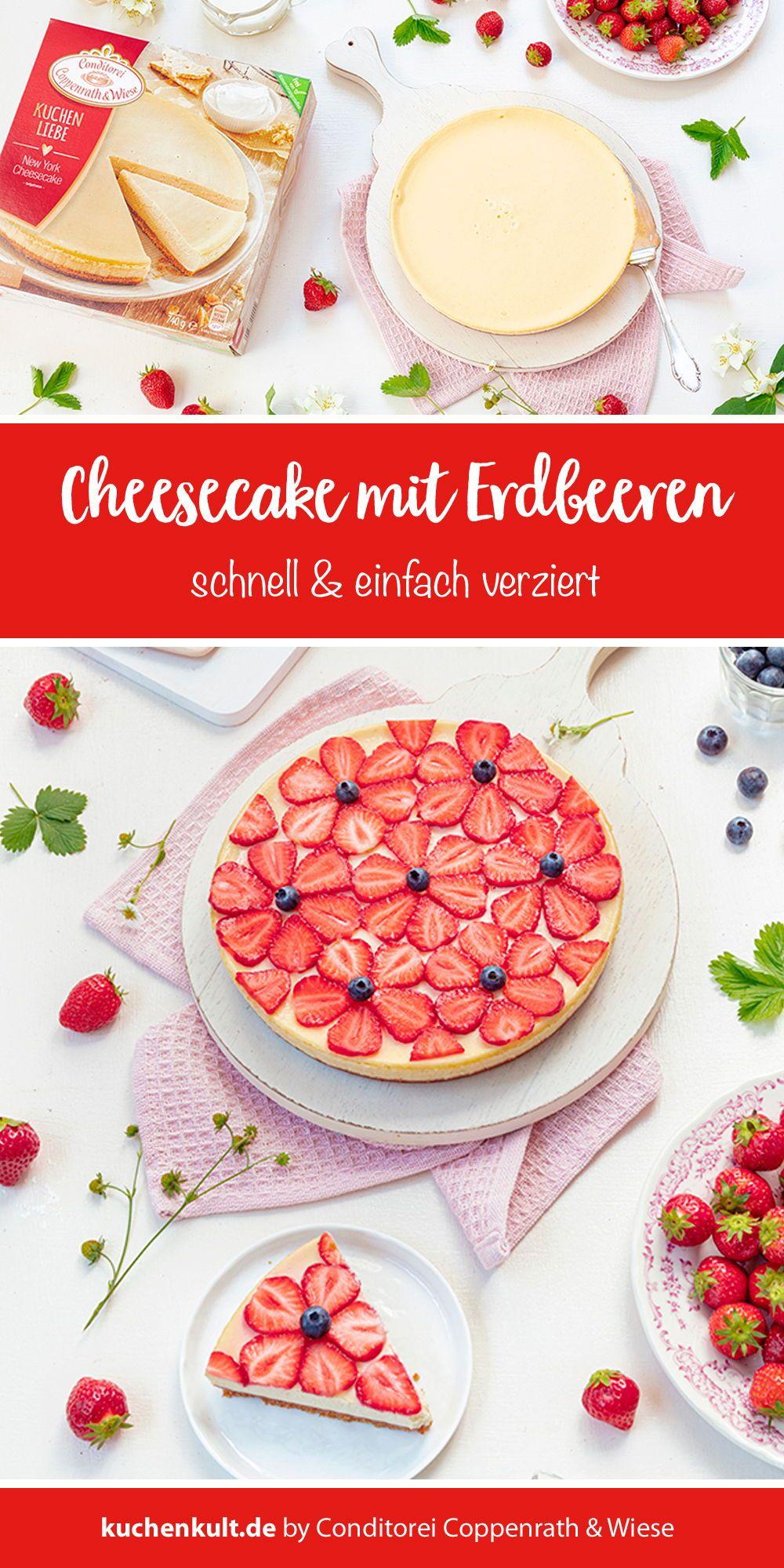 Cheesecake Mit Erdbeeren In Blumenform In 2020 Erdbeeren Lebensmittel Essen Kuchen Einschulung