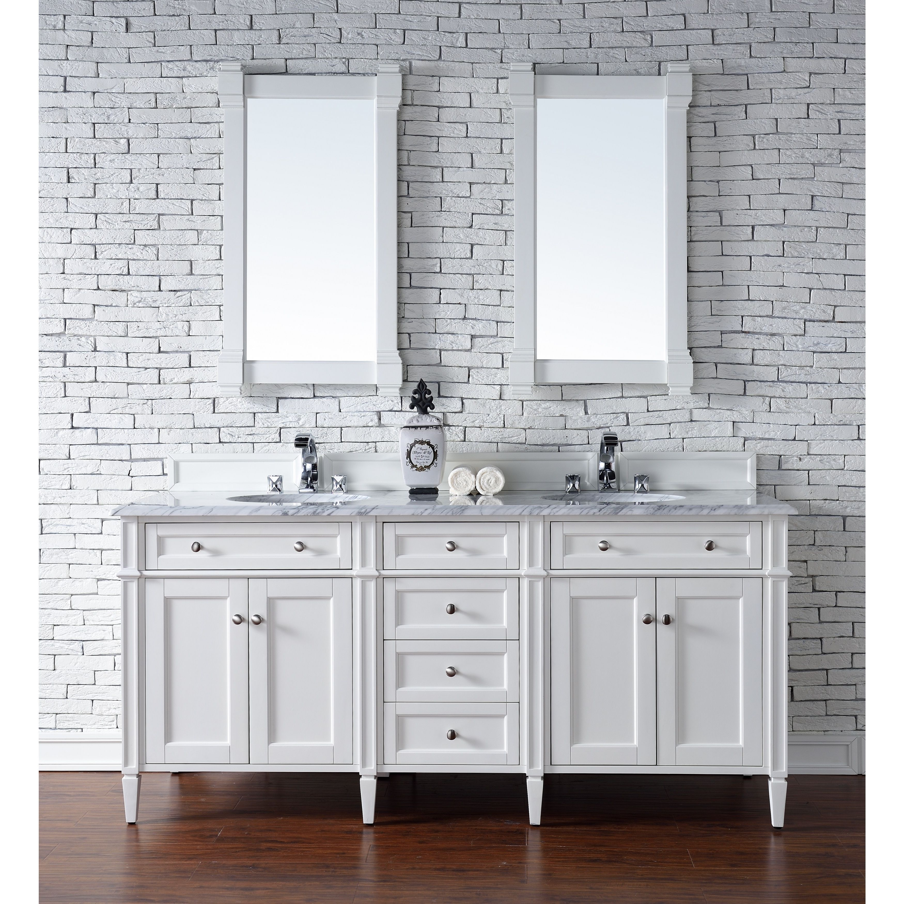 Cottage White Brittany 72 Inch Double Vanity Cabinet White