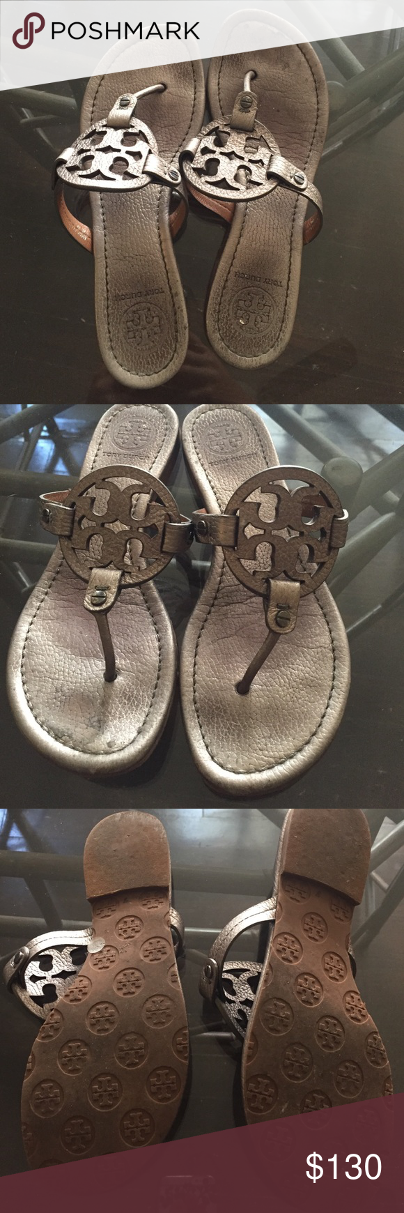 Gunmetal Tory burch Miller sandals Silver/grey Miller Tory burch. In good condition, a little wear on the soles but unnoticeable when wearing. Tory Burch Shoes Sandals