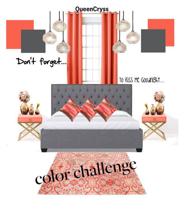 """Peach Splash Gray"" by queencryss on Polyvore featuring interior, interiors, interior design, home, home decor, interior decorating, Sun Zero, Global Views, Fatboy and Loloi Rugs"