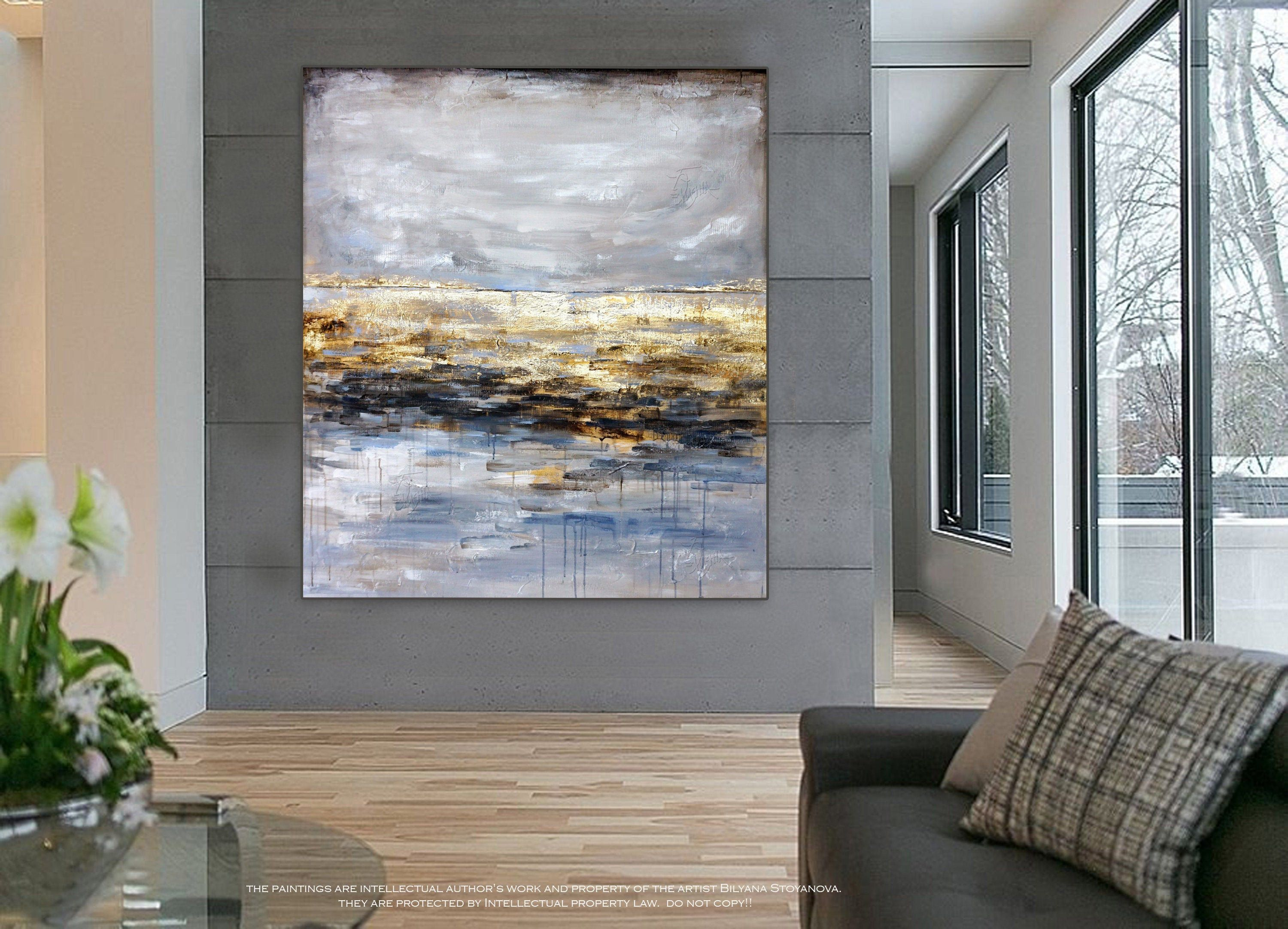 Beyond The Horizon Large Abstract Painting Seascape   Etsy   Large ...