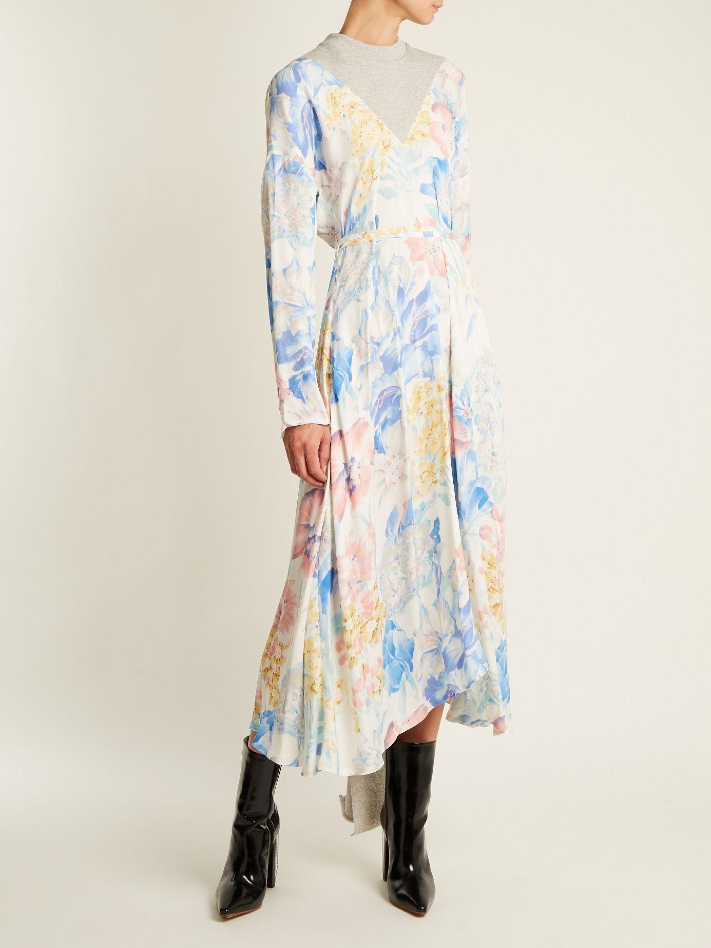Contrast-panel floral-print dress VETEMENTS eNsBkm