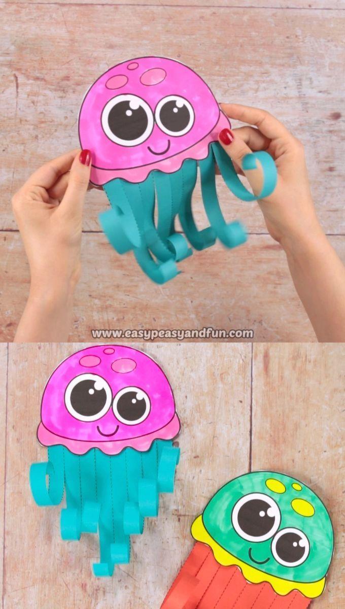 What better way to work on scissors skills than to make a wonderful scissor skills jellyfish craft. This summer craft is