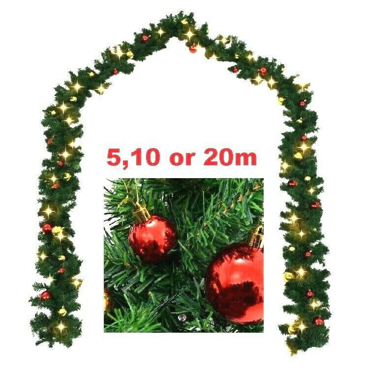 Huge Christmas Garland Prelit Decorated Balls Led Lights Commercial Mains 20 M Christmas Xmas Season Winter Autumn Outdoor Tree Gifts Christmas Garland