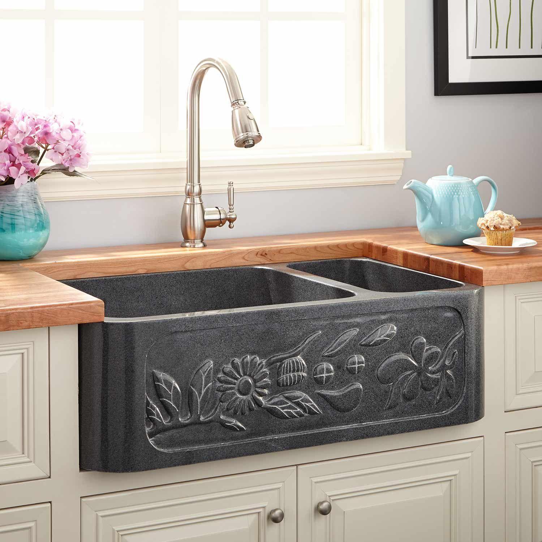 33 Floral 70 30 Offset Double Bowl Polished Granite Farmhouse Sink In Blue Gray Signature Blue Doub In 2020 Landhaus Spulen Diy Dekoration Bilder Dekoration