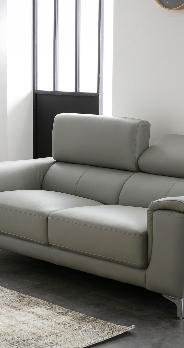 Salon Cuir Buffle Italien canapé cuir design 3 places avec têtières relax gris nevada