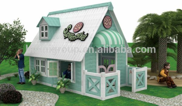 American Countryside Style Outdoor Wooden Playhouse Furniture, Binisi Kids  Garden Playhouse For Sale (BF07 Part 48