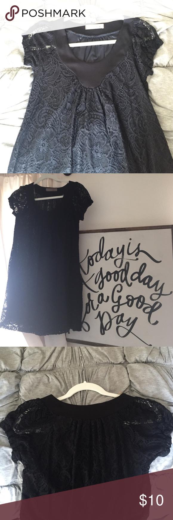 Black lace mini dress Never worn. Lace detail layer with a black slip-like layer underneath. Lush Dresses Mini