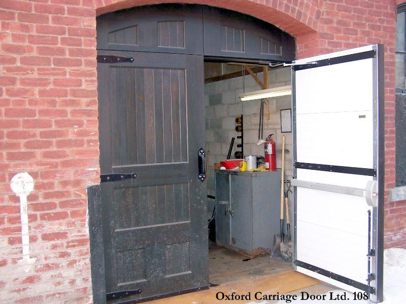 """Custom """"True Swing"""" Design Cedar Carriage Garage Door"""