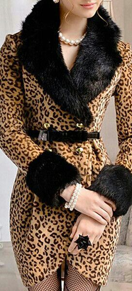 LUXE FAUX FUR COLLAR LEOPARD COAT DRESS