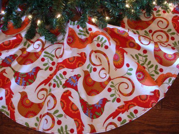 Birds Christmas Tree Skirt Red Birds Tree by KaysGeneralStore