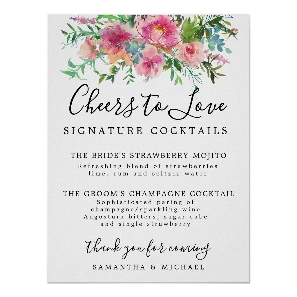 Pink Floral Signature Cocktails Wedding Bar Sign